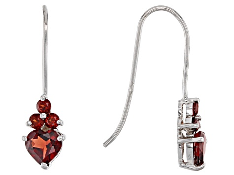 Red Garnet Rhodium Over Silver Earrings 1.87ctw