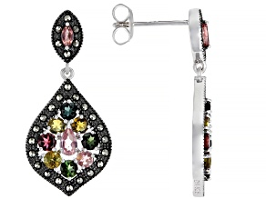 Multi-Color Tourmaline Rhodium Over Silver Earrings 2.48ctw