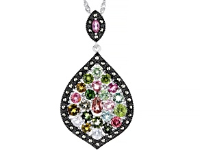 Multi-Color Tourmaline Rhodium Over Silver Pendant With Chain 3.08ctw