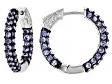 Blue tanzanite rhodium over sterling silver hoop earrings 3.48ctw