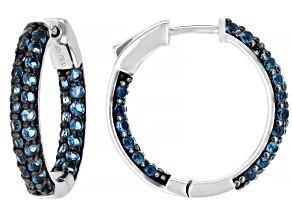 Blue topaz sterling silver inside/outside hoop earrings 2.49ctw