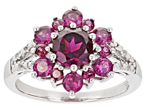 Purple Rhodolite Rhodium Over Sterling Silver Ring 1.74ctw