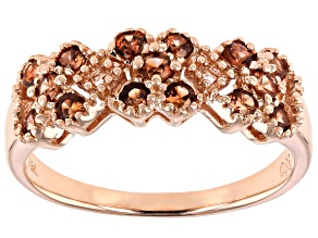 Brown zircon 18k rose gold over sterling silver ring .60ctw