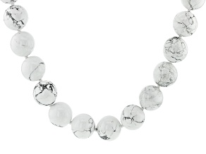 White Howlite Simulant Rhodium Over Silver Necklace