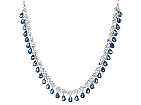 London Blue Topaz Rhodium Over Sterling Silver Necklace 31.42ctw