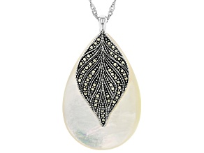 White Mother Of Pearl Sterling Silver Pendant with Chain