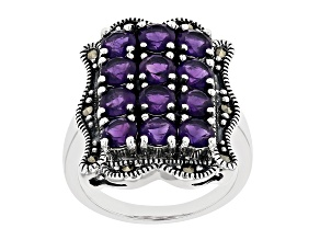 Purple African Amethyst Rhodium Over Sterling Silver Ring 2.44ctw