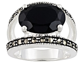 Black Spinel Rhodium Over Sterling Silver Ring 7.22ct