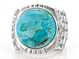 Blue turquoise rhodium over sterling silver ring 2.38ctw