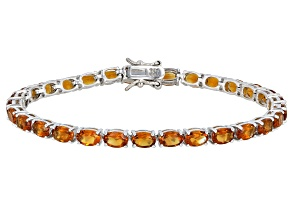 Orange citrine rhodium over sterling silver tennis bracelet 11.52ctw
