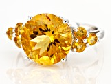 Yellow Citrine Rhodium Over Sterling Silver Ring 5.79ctw