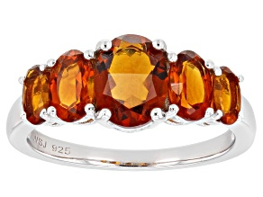 Orange madeira citrine rhodium over sterling silver ring 2.05ctw