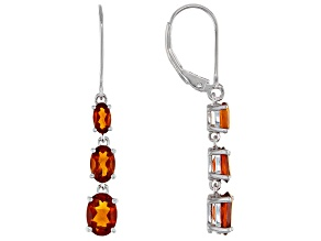 Orange madeira citrine rhodium over silver dangle earrings 2.35ctw