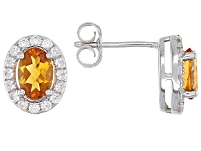 Orange Madeira Citrine Rhodium Over Silver Earrings  1.84ctw