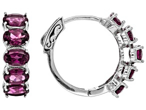 Purple Rhodolite Rhodium Over Sterling silver Hoop Earrings 5.90ctw