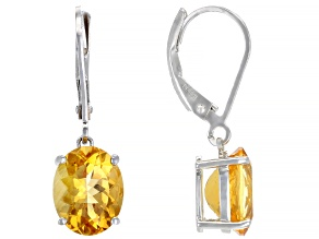 Yellow Citrine Rhodium Over Silver Earrings 3.91ctw