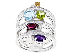 Multi-Gemstone Rhodium Over Silver Ring 3.38ctw