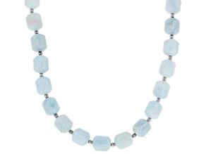 Blue aquamarine rhodium over sterling silver necklace