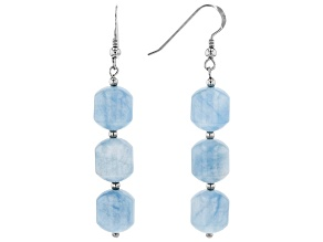 Blue aquamarine rhodium over sterling silver dangle earrings