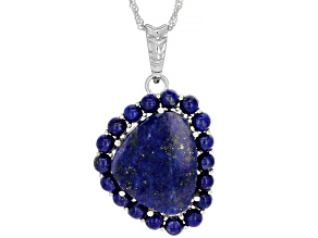 Blue Lapis Lazuli Rhodium Over Sterling Silver Enhancer with Chain