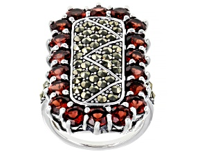 Red Garnet Rhodium Over Sterling Silver Ring 5.36ctw