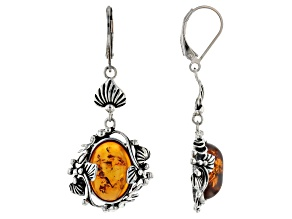 Oval Orange Amber Sterling Silver Dangle Earrings