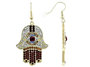 Multi color Crystal Gold Tone Hamsa Dangle Earrings