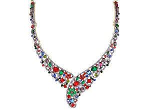 Multi Color Crystal Antiqued Gold Tone Collar Necklace