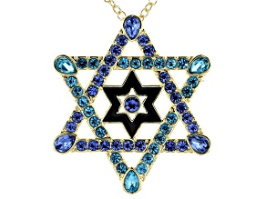 Gold Tone Multi Color Crystals Star of David Pin/Pendant with Chain