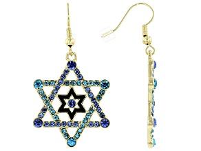 Gold Tone Multi Color Crystal Star of David Earrings