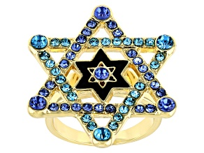 Gold Tone Multi Color Crystals Star of David Ring