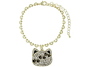 Gold Tone Crystal Cat Charm Bracelet