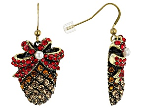 Antiqued Bronze Tone with Red Crystal Pine Cone Earring