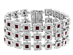 Red and White Crystal Multi Row Bracelet