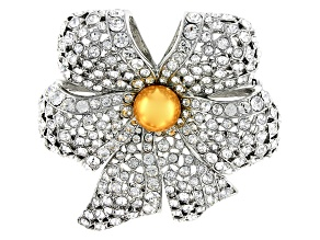 Silver Tone Swarovski Elements ™ Crystal and Pearl Simulant Brooch