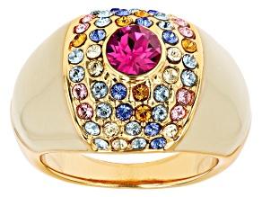 Gold Tone Swarovski Elements ™ Crystal and Enamel Ring