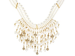 Clear Crystal, Pearl Simulant Gold Tone Necklace