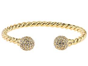 Gold Tone Pave Crystal Cuff Bracelet