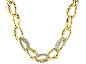 Gold Tone Pave Crystal Link Necklace