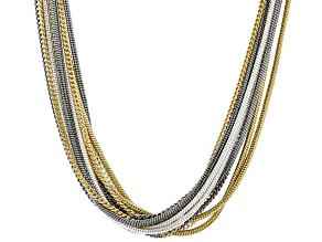 Tri Colored Layered Chain Necklace