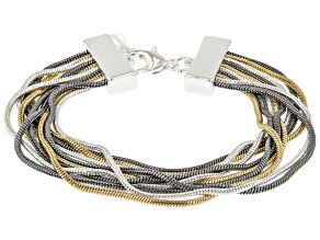 Tri Colored Layered Chain Multi Row Bracelet