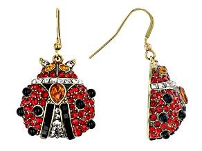 Antique Bronze Tone Multi Color Crystal Ladybug Earrings