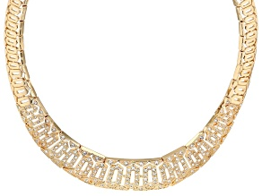 Gold Tone White Crystal Collar Necklace