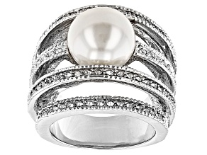 Silver Tone Crystal and White Pearl Simulant Ring