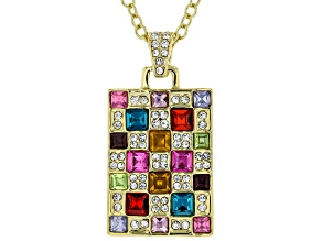 "Gold Tone Multi Color Crystal Pendant with 18"" Chain"