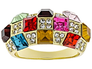 Picture of Gold Tone Multi Color Crystal Dome Ring