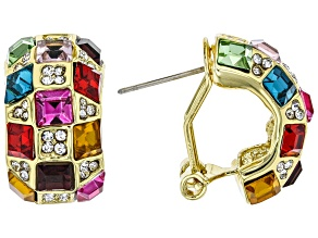Gold Tone Multi Color Crystal Earrings