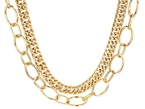 Gold Tone Double Strand Chain Necklace