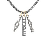 Two Tone White Crystal Interchangeable Word Necklace