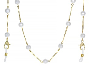 Gold Tone Pearl Simulant Mask Chain